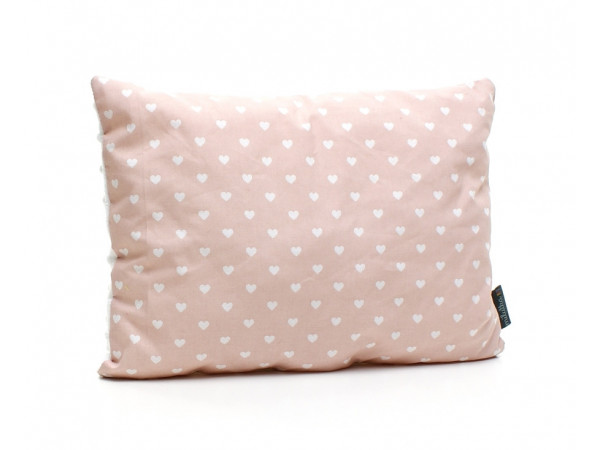 Kołderka 75 x 100 cm + poduszka 30 x 40 cm serduszka rózowe|biały