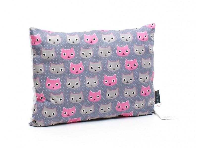 Kołderka 75 x 100 cm + poduszka 30 x 40 cm kotki różowy
